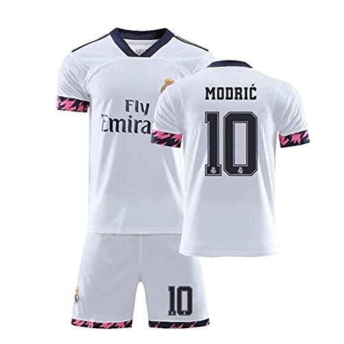 Conjuntos De Jersey De Fútbol De Fanáticos para Hombres Y Niños Camiseta De Fútbol 2020 Real Madrid # 10 Luka Modric,Blanco,L