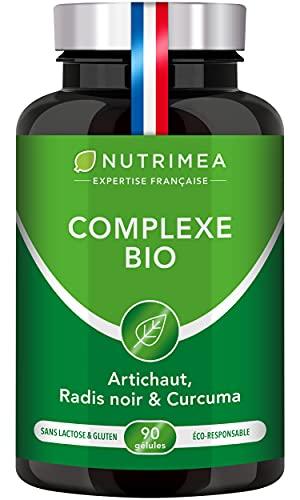 COMPLEXE BIO - Détox intestin, foie et colon 100% naturel - Artichaut, Radis Noir, Curcuma - Elimination naturelle des toxines - Haut dosage - 90 gélules végétales - Nutrimea - Fabrication Française