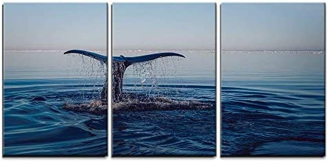 wall26 3 Piece Canvas Wall Art The Whale s Tail Slapping The Water in The Ocean Modern Home product image