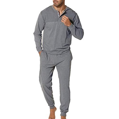 Lascana H.I.S H.I.S Herren Pyjama mit Rippeneinsatz, Rundhalsausschnitt (52/54, Grau-meliert)
