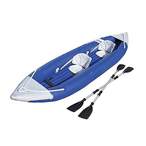 JNWEIYU Kayak Inflable, Goma del Bote, Espesado Inflable del Barco de Pesca, en rápido Movimiento Profesional Portable Asalto Salvavidas Kayak, Cámara Multi-Aire Puede Agregar Motor (Color: Azul)