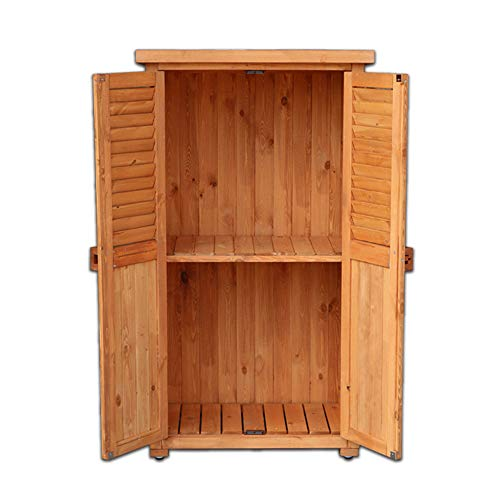 Wooden Tool Shed Outdoor Garden Storage Box, Double-layer Balcony With Door Bolts Waterproof Sunscreen Sundries Storage Cabinet, Courtyard Lawn Swimming Pool Accessories Storage Shed