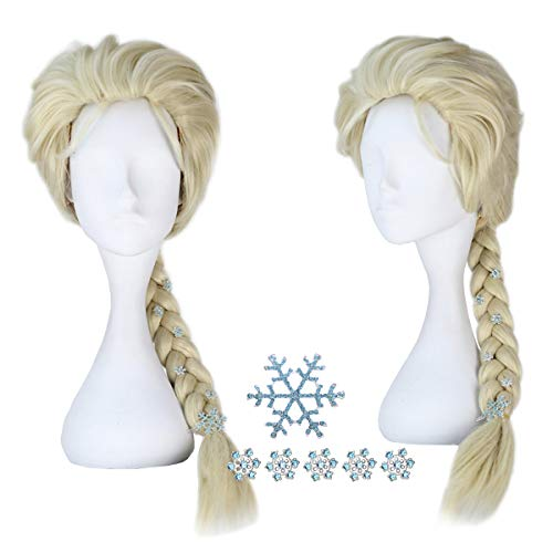 Adult Women's Blonde Braided Hair-Princess Halloween Cosplay Costume Wig with Snowflake Hairpin