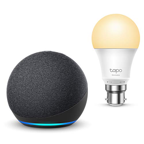 All-new Echo Dot (4th generation), Charcoal + TP-Link Tapo smart bulb (B22), Works with Alexa