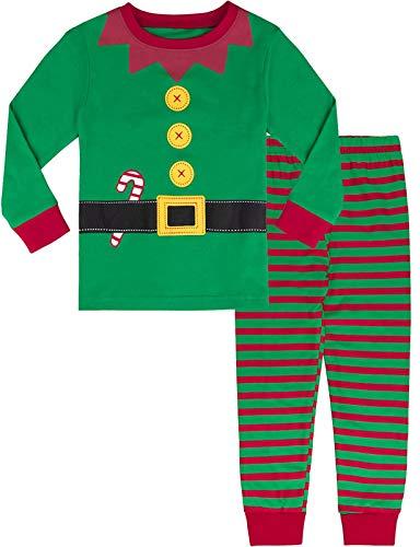 MOMBEBE COSLAND Pijama Niño Manga Larga Elfo Navidad Estampada (Elfo, 6 años)