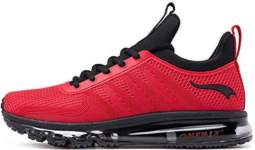 ONEMIX Zapatillas Deporte Hombres Running Zapatos para Transpirables Casual Deportivos Gimnasio Correr Sneakers 1191 Negro/Rojo 41
