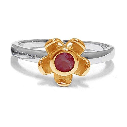 El joyero de anillo de no me olvides de florista & # 10047; & # 10047; Rojo Garnet & # 10047; Oro Amarillo