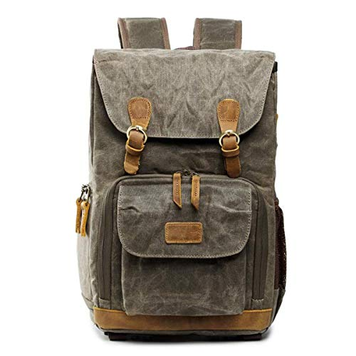 XinMeiMaoYi Outdoor Backpack Vintage Canvas Camera Backpack Leisure Travel Bag Outdoor Camera Backpack Men And Women Shoulder Bag -30 * 19 * 42cm Army Green