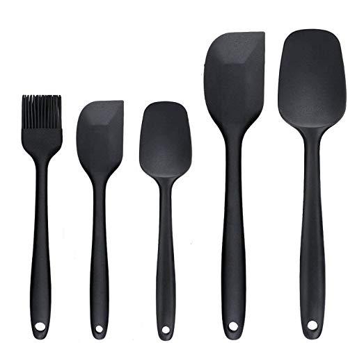 Espátulas de Silicona, GLURIZ 5 Juegos Utensilios Cocina de Silicona, Paleta Utensilios Cocina, Protección del Medio Ambiente, No Tóxico, Antiadherente,...