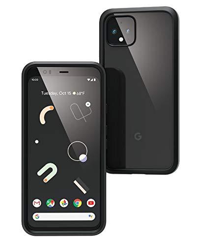 Carcasa oficial para Google Pixel 4 transparente, compatible con Active Edge, resistente a caídas de 3 m, sistema de amortiguación, compatible carga inalámbrica, correa para la muñeca incluida - Negro ⭐