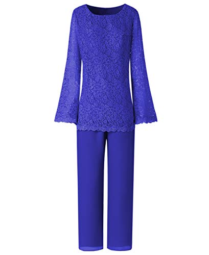 LoveeToo Women's 2 Pieces Formal Lace Mother of The Bride Evening Dresses Pant Suits Long Sleeves for Wedding(US2,Royal Blue )