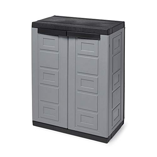 Contico 2 Shelf Plastic Garage Home Storage Organizer Base Utility Cabinet, Gray