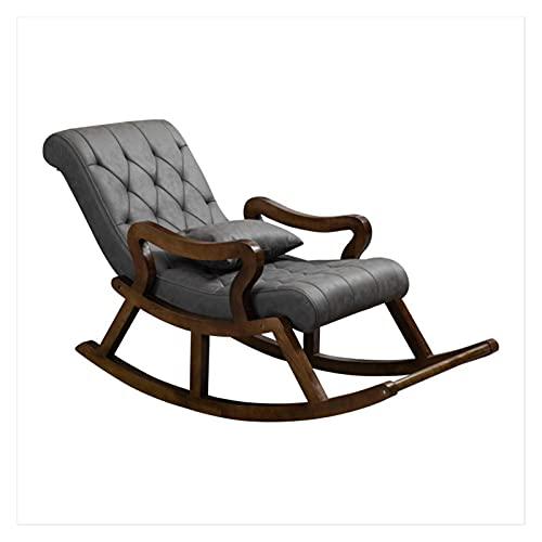 DGDF - Sedia a dondolo in legno massello di stile cinese, comoda tecnologia in tessuto, sedia da uomo vecchio, poltrona reclinabile con poggiapiedi 125 x 67 x 89 cm