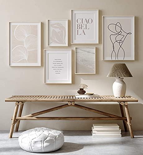 Ohbimba Set de Arte Abstracto - Juego de 6 Láminas (SIN MARCO) - 2 en Tamaño A3 y 4 en Tamaño A4 - Decoración para pared del Hogar - Cuadros Impresos en Papel Sostenible de Alta Calidad.