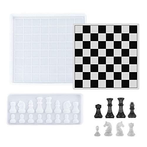 Phoetya Molde de ajedrez, resina epoxi con forma de ajedrez de silicona, apto para hacer ajedrez, chocolate, dulces y manualidades de joyería (tablero de ajedrez pequeña+molde de ajedrez)