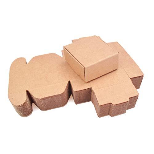 ZUQ Kraftpapier Geschenkboxen Geschenkschachtel 50er Pack, Kraft Brown Papier Geschenkbox Schmuck Ringboxen für Jubiläen Hochzeiten Feste oder Geburtstage XL