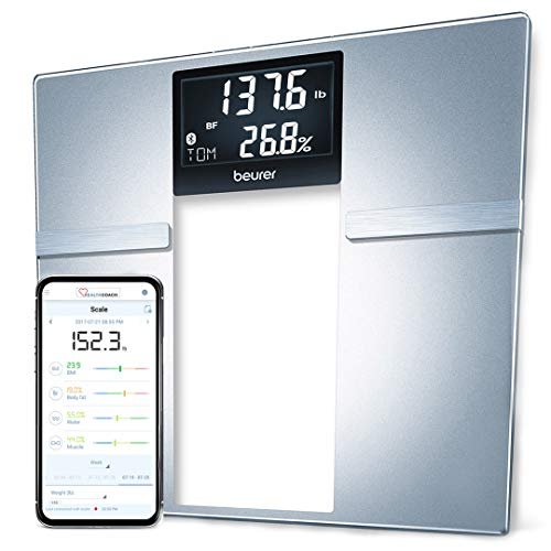 Beurer Bluetooth Body Fat Scale Smart BMI, User Recognition Digital Bathroom Wireless Weight Scale, Syncs to App, BF70, Silver