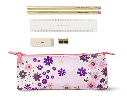 Kate Spade New York Purple/Blush Floral Pencil Case Including 2 Pencils, Sharpener, Eraser, and Ruler School Supplies, Pacific Petals