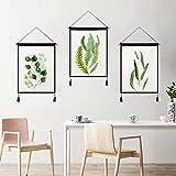 mmzki Borla de Hoja Verde Fresca Americana algodón Lino Pintura de Arte Sala de Estar en casa Tela Colgante B 45 * 65 cm