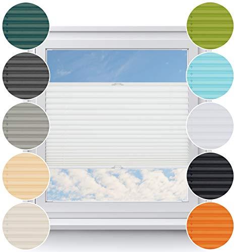 Rollo Studio Plissee nach Maß, Fenster Montage in Glasleiste mit Bohren, Verdunklung Rollos, für Fenster und Balkontür, Verdunklungsrollo, Sonnenschutz Jalousien, Plisseerollo, Weiß