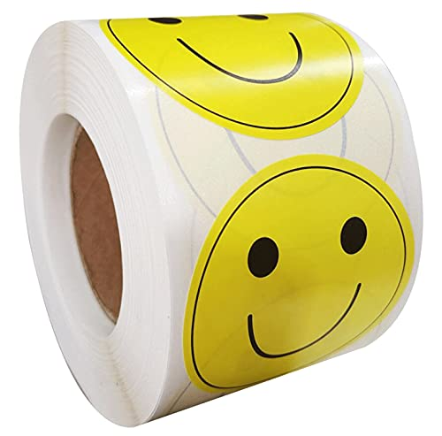 """Large Yellow Smiley Face Stickers Happy Face Labels 2"""" Inch - Round Happy Smiling Face Stickers Teacher Labels Smiley Stickers 500 Adhesive Labels Per Roll (Yellow, 2 inches)"""