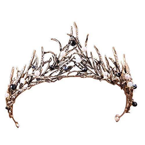 Crown, Tiara, BELLA BRIDAL Vintage Crystal Diamond Bride Bridal Wedding Hair Head Band Wear Rhinestone Jewelry Headdress Headband Tiara Coronal Big Crown Pageant (Antiqued)