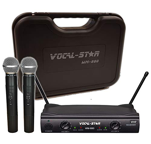 Vocal-Star - 2 micrófonos inalámbricos y funda de transporte, doble...