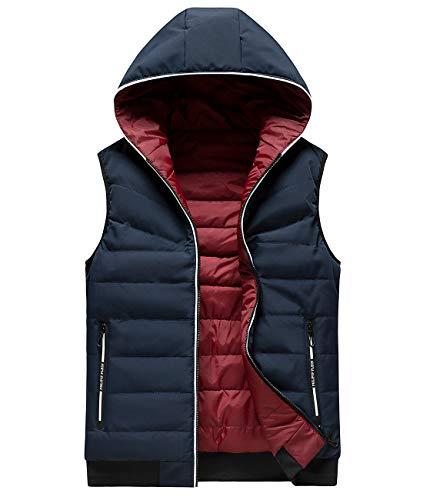 Men's Winter Coats -Down Jacket Parka Puffer Coat Reversible Hood Drawstring Stretch Hem Charcoal M