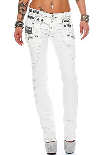 Cipo Baxx Sexy Damen Jeans Stretch Röhre Hose Slim Stright Fit Skinny Hüftjeans Casual verschiedene Varianten Styles, Weiß (Modell-10), Gr. 31W / 32L