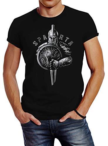 Neverless® Herren T-Shirt Aufdruck Sparta Spartanerhelm Krieger Warrior Schwert Schild Löwe Fashion Streetstyle schwarz M