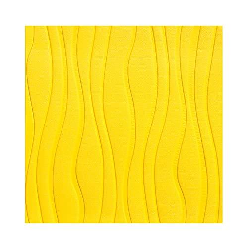 Shykey Papel Pintado Autoadhesivo 3D Minimalista, Pegatinas De Patrón De Rayas Curvas Impermeables DIY, Decorativo para Pared, Cocina, Dormitorio, 60X60cm,Amarillo,20PCS