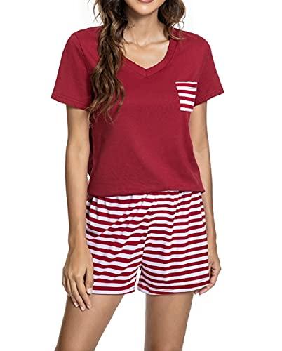 UMIPUBO Pijama Mujer Verano 2 Piezas Set Conjunto de Pijamas Corto con Pantalones Jogging Estilo Ropa de Dormir Camiseta Pantalones Casa Loungewear (Vino Rojo, M)