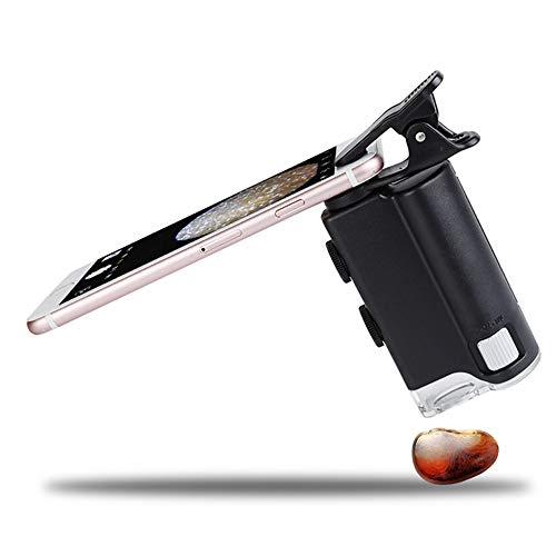 Outdoor Video 60-100 keer universele mobiele telefoon sieraden vergrootglas draagbare microscoop met licht vervalste lamp A