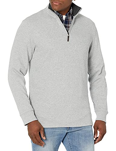 Amazon Essentials Men's Long-Sleeve Quarter-Zip French Rib Sweater, Light Grey Heather, Large