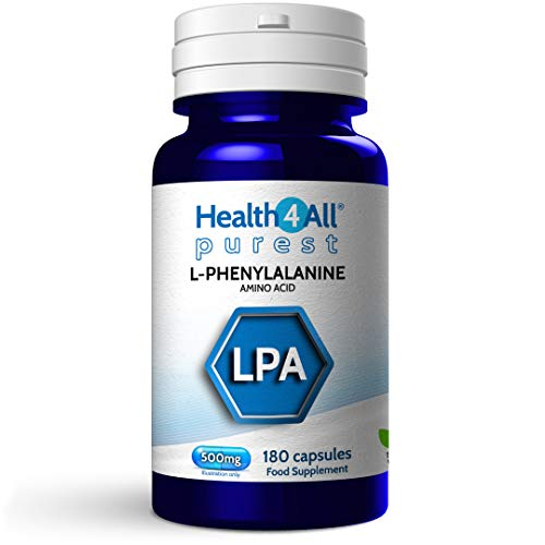 L-Phenylalanine 500mg 180 Capsules (V) Purest- no additives for Mood, Memory, Attention and Thyroid. Vegan Natural L- Form. Made by Health4All