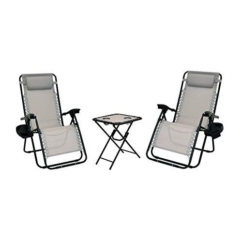 XONE Set Paradise Lounge con tavolino + PORTABEVANDE/Cellulare/Telecomando - Portata Massima 120 kg - Textilene 2x1