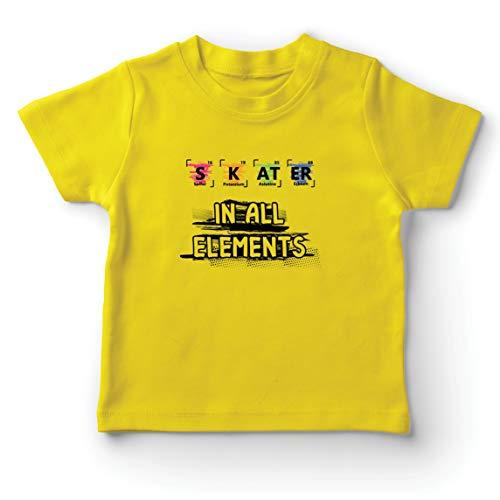 lepni.me Camiseta para Niño/Niña Patinador en Todos los Elementos Química Periódica de Mesa Deporte (5-6 Years Amarillo Multicolor)