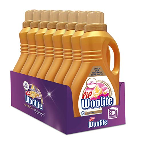 Lip Woolite Detersivo Lavatrice Liquido, Detersivo Per Capi Delicati, Pro-Care Con Cheratina, 200 Lavaggi, 8 Confezioni Da 25 Lavaggi