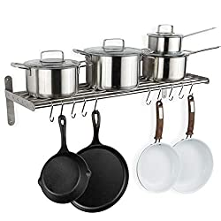 wall pot rack with stainless and cast iron pots