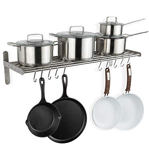 Wallniture Lyon Kitchen Organization and Storage Rack Metal Wall Shelf with 10 S Hooks for Hanging Pots and Pans Chrome