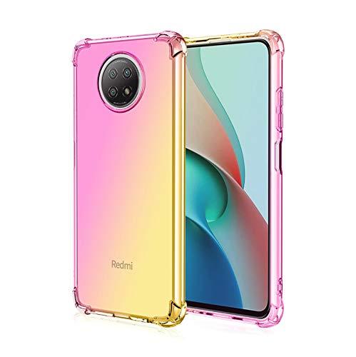 KERUN Cover per Xiaomi Redmi Note 9T Cover, Custodia Silicone TPU Morbido Paraurti Antiurto Anti-Graffio Resistente Trasparente Custodia per Xiaomi Redmi Note 9T (Rosa/Oro)