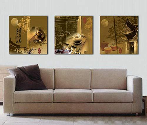 Midden herfst maan Chinese thee foto canvas woondecoratie foto 50X50cmX3 (geen frame)