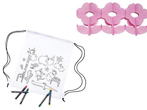 Set met 20 kinderrugzakken voor kinderen safari + 1 slinger met bloem – details en cadeaus voor kinderen, scholen, verjaardagen