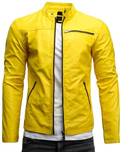 Crone Vego Cleane - Chaqueta básica de piel ecológica para hombre, ligera, de corte ajustado Amarillo neón lavado (cuero ecológico). M