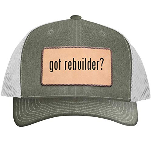 got Rebuilder? - Leather Light Brown Patch Engraved Trucker Hat, Heather-White, One Size