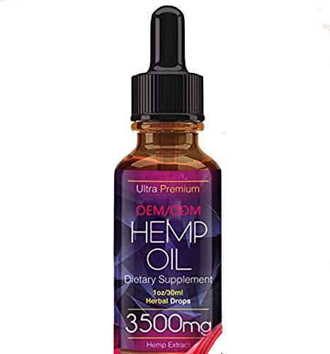 Hemp Oil for Pain Relief Anxiety Sleep Mood & Stress Relief -3500mg - Pure Natural Organic Vitamins Fatty Acids Spectrum Hemp Extract - Zero THC CBD Cannabidiol Tincture Drops