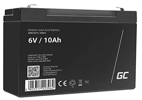 Green Cell® AGM 6V 10Ah Akku VRLA Blei-Batterie Bleiakku Ersatzakku Gelakku Akkubatterie Zyklenfest Unbemannt Spielzeug | Elektro Spielzeug| Alarm | Notstrom | Kinderfahrzeuge| Kinder-Quad