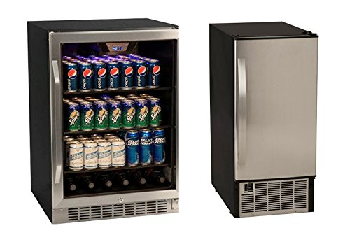 Edgestar 148 Can Stainless Steel Beverage Cooler & 45lb Stainless Steel Clear Icemaker