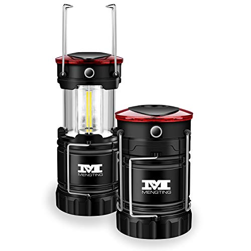 MENGTING 2 PACK LED Camping Lantern, IPX4 Water Resistant,Super Bright,300 Lumens,Strong magnetic Base,Battery Powered Outdoor LED Lantern(Batteries Included)