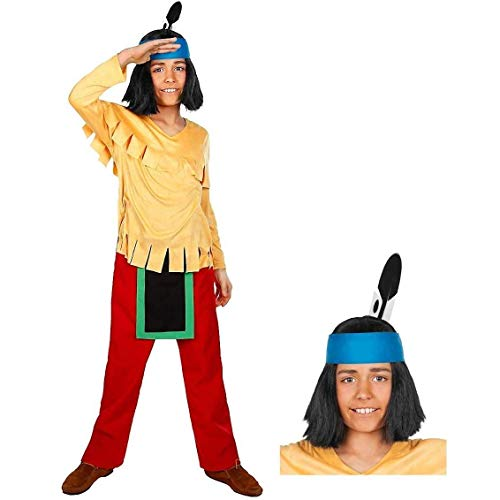 Maskworld - Yakari Kinderkostüm 5teilig - Indianer Kostüm für Jungen mit Perücke - Lizenzprodukt Zeichentrickserie (122/128)